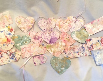 24 Hand Swirl Marble Painted Gift Tags Hearts Rectangle Assorted Color & Size