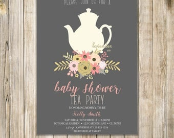 BABY SHOWER TEA Party Invitation, Baby Shower Tea Invite, Baby is Brewing Invite, Baby Shower Brunch, Floral High Tea Party, Peach Pink Gold