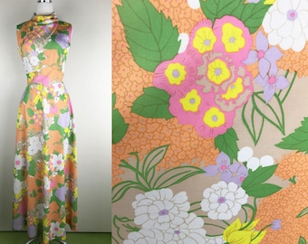 1960s 1970s Pastel Floral Maxi Dress // 60s 70s Checkaberry Garden Maxi Dress with High Neckline and Empire Waist