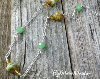 Layering Beaded Necklace - Green and Topaz Beaded Necklace - Czech Beaded Necklace