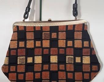 vintage Mid Century Mod Carpet Bag Purse Geometric Squares with Gold Hardware Top Handle Handbag