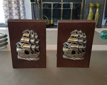Vintage Wood and Metal Ship Bookends Sailing Clipper Ship Cast Metal