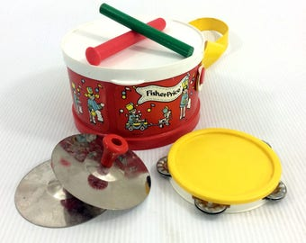 Fisher Price Marching Band Drum Set With Tambourine & Cymbals 921 Vintage 1979