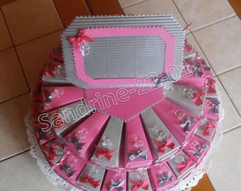 """40 cake boxes dragées """"nipples"""" silver and fuchsia"""