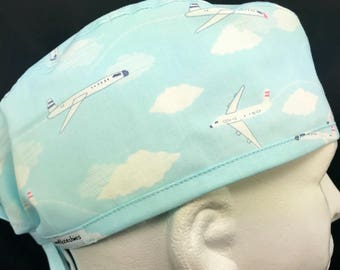 Airplanes Fitted Mens surgical surgeon cap scrub caps scrub hat for Men OR surgery hat Airplanes skull cap Lovenstitchies pilot Blue clouds