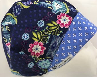 Fleur dis Lis LoveNstitchies Surgical Cap Bouffant Scrub Hats for Women OR Nurse Tech X-ray Physician's Assistant Hat Floral CRNA Navy Blue