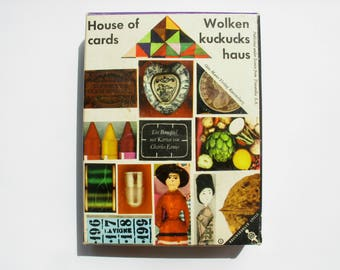 Rare 1960s Charles Eames House of Cards Game, Ravensburger, mid century game pieces, Wolken Kuckucks Haus, Ravensburg, Germany