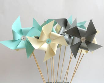 Windmill beige or grey or green water for baptism, wedding, communion hand made table decoration