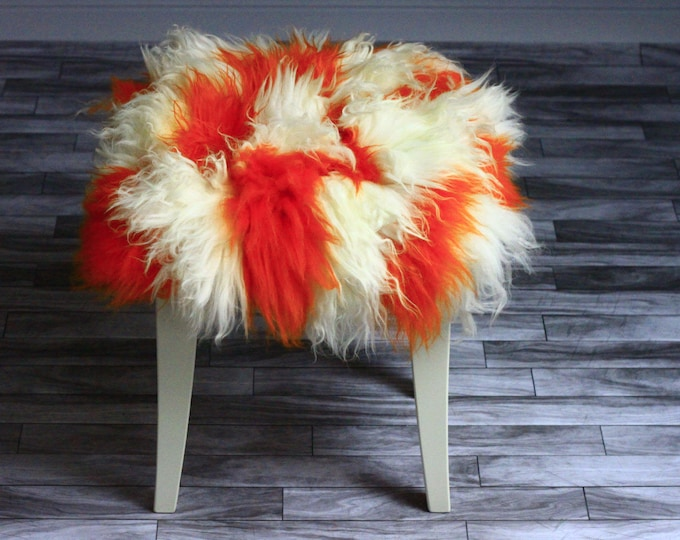 Square Stool Cover | Sheepskin Stool Cover | Chairl Cover | Furry Stool | Scandinavian Decor | Seat Pad | Chair Pad