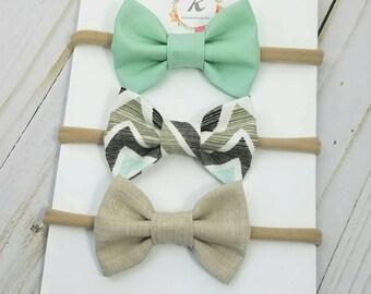 Nylon headband set - mint bow - chevron bow - beige bow - nylon headbands - baby headband set - bow set - hair bows - nylon baby headband