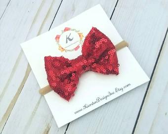 Sparkly red nylon headband - sparkly red bow - sequin bow - christmas bow - nylon headband - baby girl headband - holiday bow - red sequins