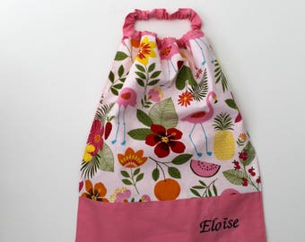 Christmas, birthday, canteen * bib, napkin, with elastic at the neck, flamingos and flowers to order cotton