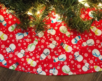 Christmas Tree Skirt-Snowman-Snowmen-Winter-Christmas-Holiday Tree Skirt-Holiday Decor-Christmas decor-RedTree Skirt-Aqua-42""