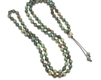 Green Turquoise ethnic necklace - Mala natural stones and 925