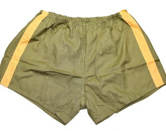 Genuine Ex-Army Shorts NEW olive with yellow stripes vintage 1980s military PT hot pants retro sports gym training
