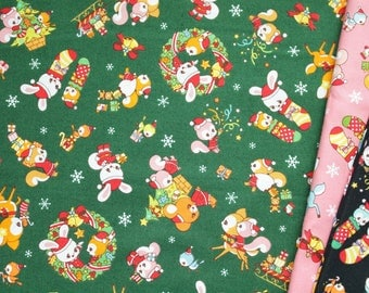 fat quarter, 1/2 meter / Christmas fabric / Japanese fabric / kawaii fabric / bunny fabric / Holiday fabric / animal fabric /
