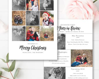 year in review christmas card template 5x7 photo card. Black Bedroom Furniture Sets. Home Design Ideas