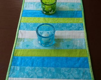 Aqua, Quilted Table Runner, Striped Table Runner, Blue Green, Table Centerpiece, Table Topper, Table Cloth, Blue Table Runner, Table Decor