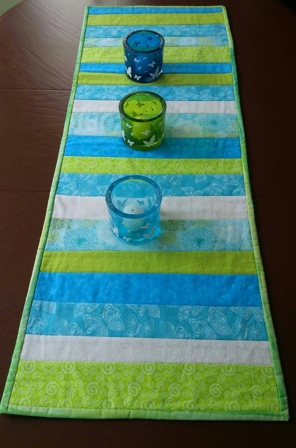 Quilted Table Runner Striped Table Runner Spring Table