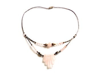 Vintage Rose Quartz Necklace - Southwestern Boho Style - Liquid Silver - Bib Necklace - Festival Fashion - Pink Stone - Gift For Her