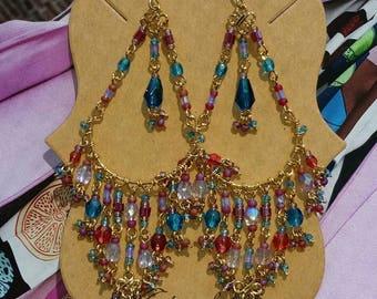 Multi Color Chandelier Earrings, Teal Blue Earrings, Chandelier Earrings with multi color beads, Beaded Chandelier Earrings, Ruby Red, Teal