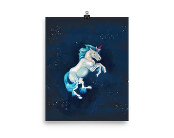 Unicorn Traversing the Universe Poster
