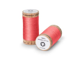 Salmon Pink Organic Cotton Thread 300 yards-  Eco-Friendly Thread - 100% Organic Cotton Thread