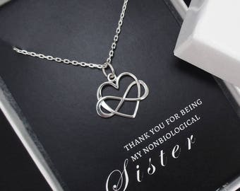 Sister Necklace, Unbiological Sister Necklace, Unbiological Sister Gift, Infinity Heart Necklace, Friendship Necklace, Sterling Silver