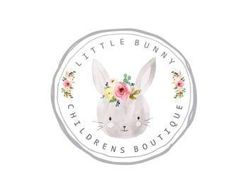 Premade Logo -LITTLE BUNNY- Premade Logo, Childrens Logo, Boutique Logo, Logo Design, Bunny Logo, Photographer Logo, Boho Logo, Watercolor