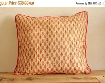 ON SALE! Red lotus, pin-tuck screen print, throw cushion, cushion cover, Bohemian pillow cover, cotton, pillow, pillow cover
