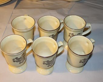 6 Vintage Tall Mugs,pfaltzgraff, These are Nice, Need Cleaning But in Good Vintage Shape, Creme Color with Flower Decoration,