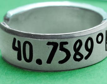 Times Square Coodinates Ring - Handstamped Aluminum Adjustable Ring