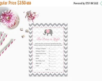20% OFF Pink Elephant Price is Right Baby Shower Game, The Price is Right Baby Shower Game Gray Grey Chevron Instant Download  Printable227