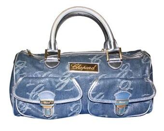 CHOPARD Vintage Blue and Silver Denim and Leather Handbag