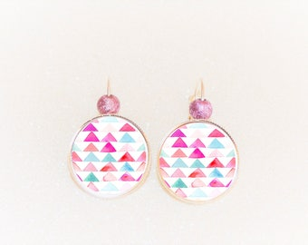 Earrings cabochon silver Art deco geometric triangle pink/blue