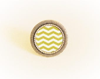 Ring silver pendant and adjustable geometric chevron yellow/white