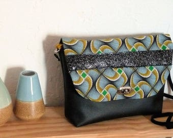 leather shoulder bag black/fabric wax Bamako green/yellow mustard, glittery leather