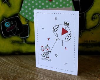 Card greeting, paper, wishes, wishes, birthday, holiday, color, playful characters, cat, love