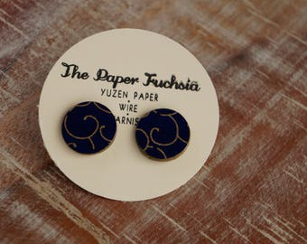Handmade post earrings, in blue and gold scroll pattern