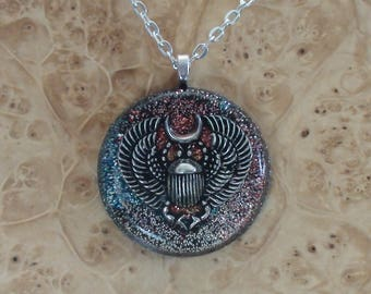Egyptian Scarab Beetle Silver Orange Blue Sun Soul Antenna Harmonized Crystal Ormus Orgone Energy Pendant Necklace Divine Manifestation 30mm