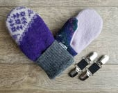 Best Kid Mittens // Fits 4-9yrs. //  Fleece Lined Wool Kid Mittens // Recycled wool mittens // Purple and Gray // Free Mitten Clips