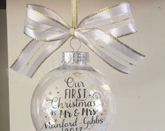 Our First Christmas as Mr & Mrs Ornament, 1st Christmas as Mr and Mrs 2018, Mr and Mr, Mrs and Mrs, Wedding Gift, Christmas Ornament