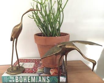 Pair of vintage brass cranes, hollywood regency, brass