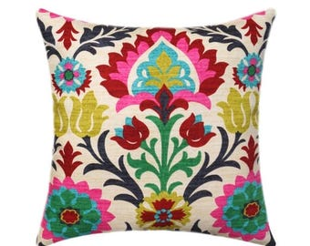 SALE Waverly Santa Maria Desert Flower Pillow Cover, Floral Throw Pillow, Hot Pink Accent Pillow, Red Black Turquoise Pillow Cover, Hidden Z