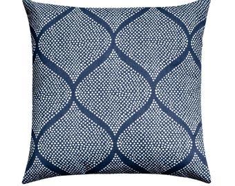 Robert Allen Indigo and White Pillow Cover, Navy Blue Throw Pillow, Mocamboo Indigo Throw Pillow, Ikat Accent Pillow, Navy Zippered Cushion