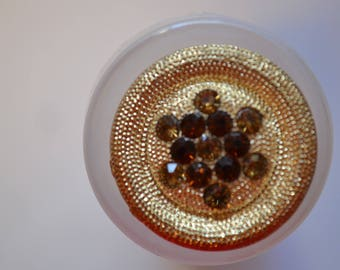set of 4 large button round seam 34 mm rhinestones and gold