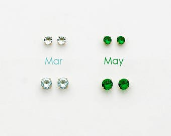 925 Sterling Silver Birth Month Cubic Zirconia Baby Girls Children Screwback Earrings