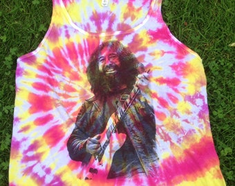 Grateful Dead Jerry Garcia tank top tie dye screen print Phish Jerry Garcia