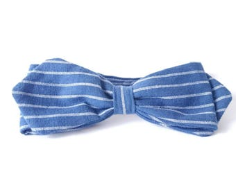 Men's Bow Tie, Groom's Bow Tie, Linen Bow Tie, Blue and White Stripes Bow Tie, Nautical Groomsmen, Summer Bow Te, Linen Suit, Pointed Bowtie