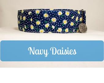 Big Dog Collar for Girls 2in Wide Daisy Flowers Girl Cotton Dog Collar for Mastiff Great Dane Doberman Big Dogs by LaVilla